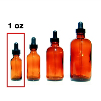Amber Glass Bottle with Eye Dropper Top - 1 oz.
