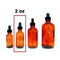 Amber Glass Bottle with Eye Dropper Top - 2 oz.