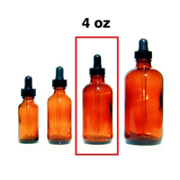 Amber Glass Bottle with Eye Dropper Top - 4 oz.