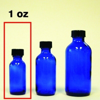 Cobalt Blue Glass Bottle with Cap - 1 oz.