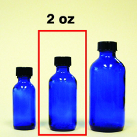 Cobalt Blue Glass Bottle with Cap - 2 oz.