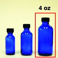 Cobalt Blue Glass Bottle with Cap - 4 oz.